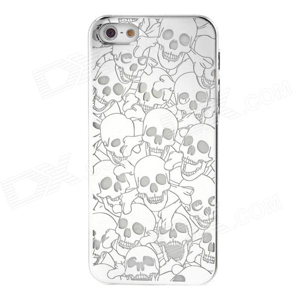 Skull Style Plastic Plating Protective Case for Iphone 5 - Silver cool skull style protective plastic back case for iphone 5 yellow black
