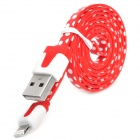 Polka Dot Style USB to 8-Pin Lightning Data / Charging Cable for iPhone 5 - Red + White