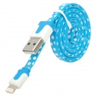 Polka Dot Style USB to 8-Pin Lightning Data / Charging Cable for iPhone 5 - Blue + White