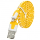 Polka Dot Style USB to 8-Pin Lightning Data / Charging Cable for iPhone 5 - Yellow + White