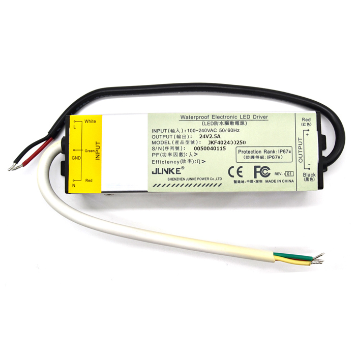 JLNKE HTA060240250 Waterproof 2.5A 60W Constant Voltage Power Source LED Driver - Silver + Black jlnke jkf60 waterproof 2 5a 60w constant voltage power source led driver grey 100 240v