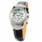 Women's Stylish Shiny Analogue Quartz Wrist Watch w/ Sparkling Crystal - Golden - Silver (1 x 377)