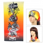 02013520002 Outdoor Cycling Polyester Microfiber Head Scarf - Black + Orange + Yellow