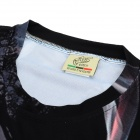 LAONONGZHUANG Men's Stylish 3D Smocking Lady Pattern Polyester Fiber T-shirt - Black (XL)