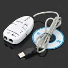 Handy Guitar Effector Plastic Recording Audio Card w/ USB Link Cable - White