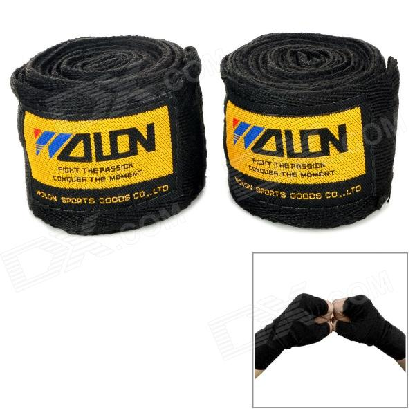 Sport Boxing / MMA Cotton Wrist Protection Hand Band - Black + Yellow (2 PCS / 2.5m) authentic rdx inner hand wraps gloves boxing fist padded bandages mma gel thai