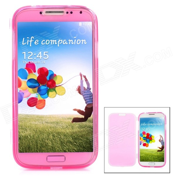 Protective Matte TPU Flip Open Case for Samsung Galaxy S4 / i9500 - Deep Pink