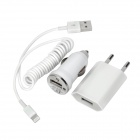 3-in-1 EU Plug USB Wall Charger + Car Charger + Lightning Cable Set for iPhone 5 + More - White