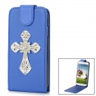 Shiny Rhinestone Cross Design PU Leather Top Flip-Open Case for Samsung i9500 - Blue