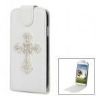Shiny Rhinestone Cross Design PU Leather Top Flip-Open Case for Samsung i9500 - White