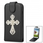 Shiny Rhinestone Cross Design PU Leather Top Flip-Open Case for Samsung i9500 - Black