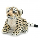 9530 Cute Cartoon Leopard Cat Style Stuffed Short Plush Doll Toy - Dark Brown + Black + Cream
