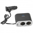 Dual Sockets USB Car Cigarette Lighter Charger w/ Toggle Switches - Black (12V)
