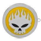 DIY Unique Flame Ghost Head Pattern Zinc Alloy Car Decorative Sticker - Silver + Yellow + Black