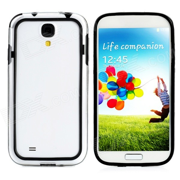Protective PC + PVC Bumper Case for Samsung Galaxy S4 i9500 - Black + Transparent