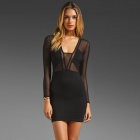 LC2700 Sexy Lace Polyester Women's Seductive Dress - Black (Size-L)