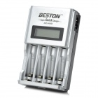 "BESTON 903 1.5"" LCD 4 x AA / AAA / Ni-MH / Ni-Cd Quick Charge Battery Charger - Silver + Black"