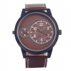 Super Speed  V0171 Leather Band Quartz  Men's Wrist Watch w/ 3 Dials - Brown + Black (1 x LR626)