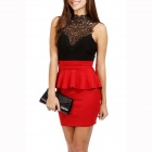 LC2710-3 Sexy Entrancing Hollow-out Backless Peplum Dress for Women - Black + Red (Size-L)