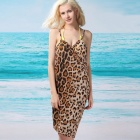 Leopard Print Women's Sexy V-Neck Backless Front Cross Beach Chiffon Cover-up Dress - Brown (Size L)