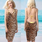 Leopardtrycket dam Sexy V-Neck Backless Front Cross Beach Chiffong Cover-up Dress - Brown (Storlek L)
