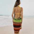 Women's Sexy V-Neck Backless Front Cross Beach Chiffon Cover-up Dress - Multicolored (Size L)