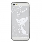 Lovely Cartoon Cat w/ Love Heart Pattern Protective Plastic Back Case for Iphone 5 - White + Black