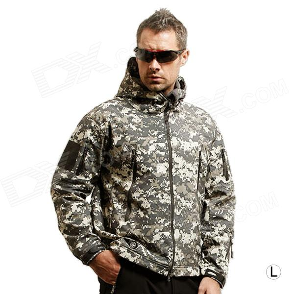 Men's Waterproof Windproof Polyester + Spandex Outdoor Jacket - Camouflage (Size-L) outdoor genuine lady pink ski suit camouflage waterproof windproof jacket cotton 1410 018 women wear