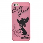 Lovely Cartoon Cat w/ Love Heart Pattern Protective Plastic Back Case for Iphone 5 - Pink + White