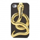 H8168 3D Electroplating Cobra Style Protective TPU Back Case for Iphone 4 / 4S - Black + Golden