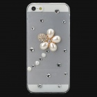 Shiny Rhinestone Artificial Pearl Flower Style Plastic Back Case for Iphone 5 - Transparet