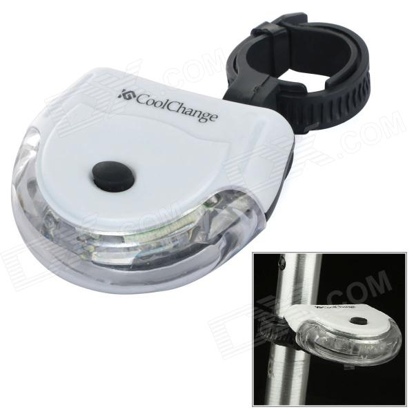 Coolchange Waterproof PC Bicycle 3-Mode 5-LED Tail Warning Lamp w/ Holder - White (2 x AAA)