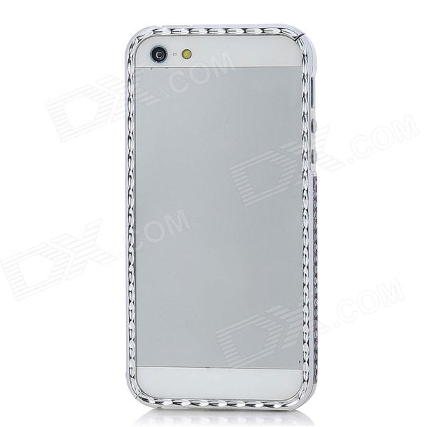 Protective Rhinestone Plastic Plating Bumper Frame for Iphone 5 - Silver