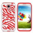 Protective Silicone + PC Case for Samsung Galaxy S4 i9500 - Red + White