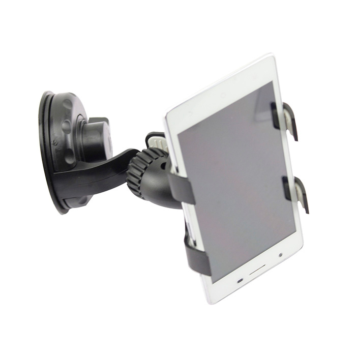 360 Degree Rotation Clip Bracket Suction Cup Holder Stand for Cellphone / GPS - Black + Grey
