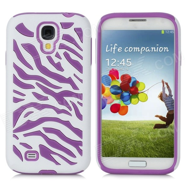 Protective Silicone + PC Case for Samsung Galaxy S4 i9500 - Purple + White