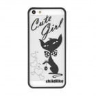 Cute Cat Style Protective Plastic Back Case for Iphone 5 - White + Black