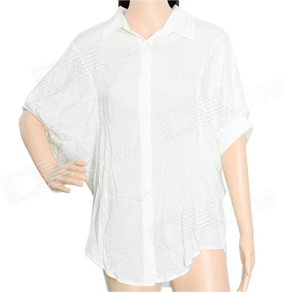 Short Batwing Sleeve Cotton Lady's Shirt - White