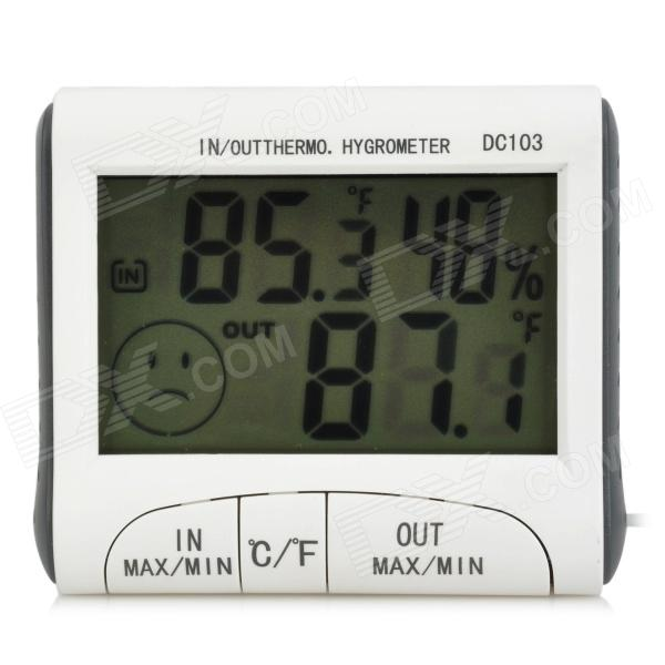 DC103 2.9 LCD Digital Thermometer / Hygrometer w/ Probe - White + Grey (1 x AAA) tl 031 2 3 lcd thermometer w clock countdown white black 1 x aaa