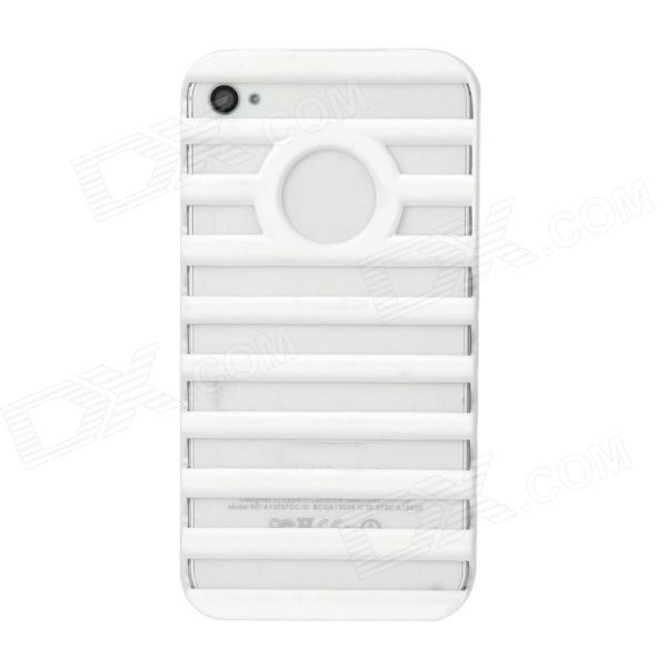 Ladder Style Protective Plastic Back Case for Iphone 4 / 4S - White crack luminous style protective plastic back case for iphone 4 4s blue white