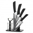 BECONN BJ204567P 6-in-1 Ceramic Knives + Peeler + Stand Set - White + Black + Silver