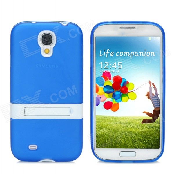 Protective PVC + PC case w/ Holder for Samsung Galaxy S4 i9500 - Blue + White