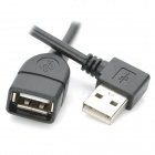 "CY U2-015 90"" Right Angle USB Male to Female Data Cable - Black (40cm)"