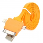 USB to 8-Pin Lightning / 30-Pin / Micro USB Flat Charging Cable for iPhone 5 / 4S / Samsung - Orange