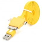 USB to 8-Pin Lightning / 30-Pin / Micro USB Flat Charging Cable for iPhone 5 / 4S / Samsung - Yellow