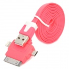 USB to 8-Pin Lightning / 30-Pin / Micro USB Flat Charging Cable for iPhone 5 / Samsung - Deep Pink