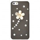 Protective Flower Style Rhinestone Plastic Back Case for Iphone 5 - Translucent Black