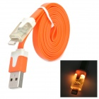 8-Pin Lightning Data/Charging Flat Cable w/ Indicator Light for iPhone 5 / iPad 4 / Mini - Orange