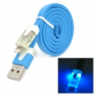 8-Pin Lightning Data/Charging Flat Cable w/ Indicator Light for iPhone 5 / iPad 4 / Mini - Blue