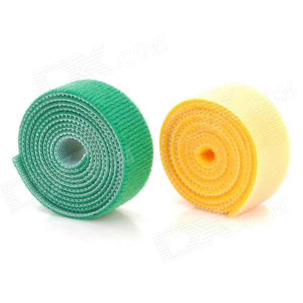 Multi-Function Nylon Velcro Cord Cable Winders Organizers - Yellow + Green (100cm / 2 PCS)